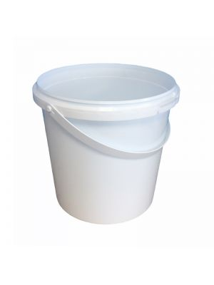 Rond ø146 mm 1500 ml plastic bakje met hengsel en garantiesluiting - WIT