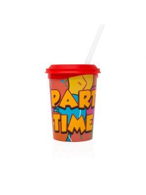 Drinkbeker 355 ml PARTY TIME met deksel en rietje