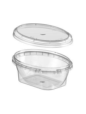 Ovaal exclusief 175 ml plastic bakje met garantiesluiting en deksel