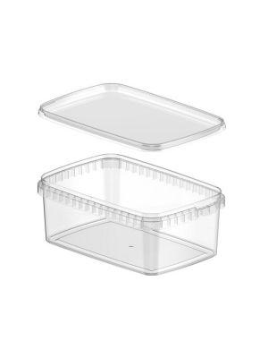 Rechthoekig 1200 ml plastic bakje met garantiesluiting en deksel