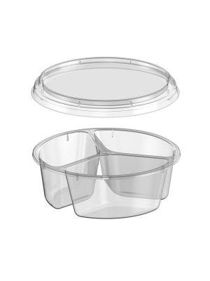 3-vaks plastic seal bakje met deksel (3 x 95ml)