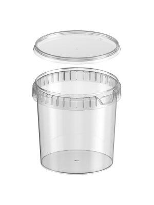 Rond ø133 mm 1200 ml plastic bakje met garantiesluiting en deksel