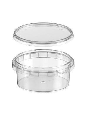 Rond ø95 mm 180 ml plastic bakje met garantiesluiting en deksel