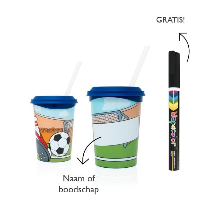 Plastic drinkbeker met uitwisbare stift