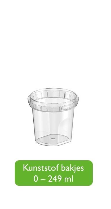 Kunststof bakjes 0 - 250 ml